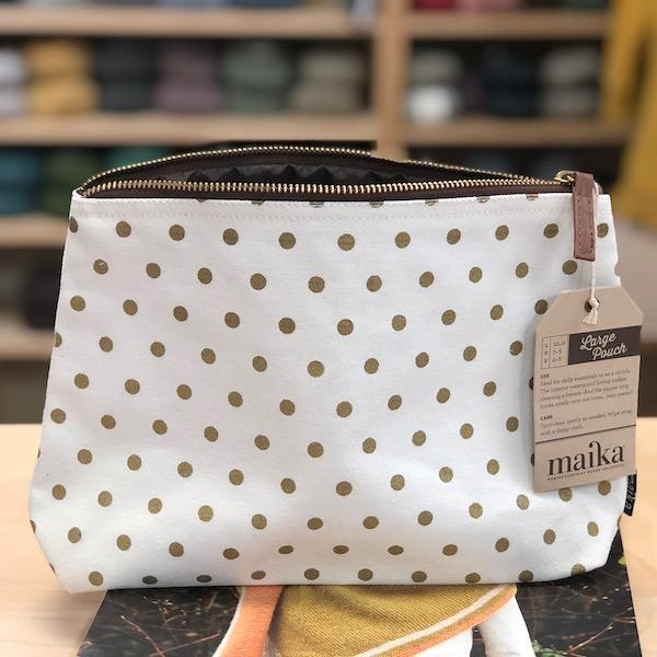 Maika Large Zip Pouch - Gold Dots