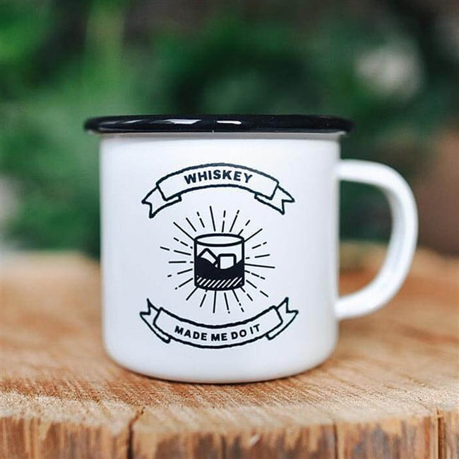 WHISKEY MADE ME DO IT ENAMEL MUG