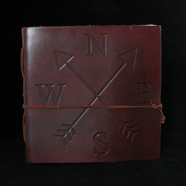 COMPASS ROSE LEATHER JOURNAL WITH ARROWS