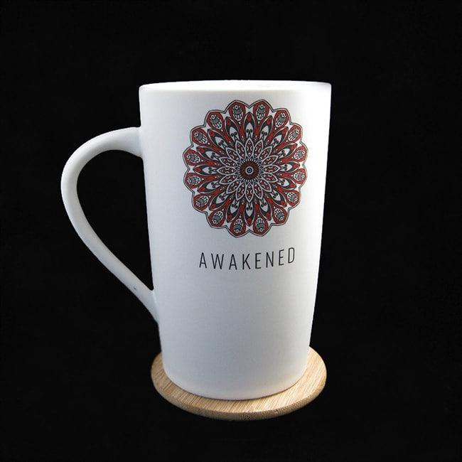 AWAKENED CERAMIC MUG W/ BAMBOO COASTER