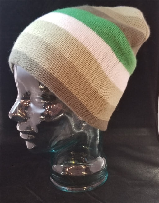 GREEN STRIPED KNIT BEANIE