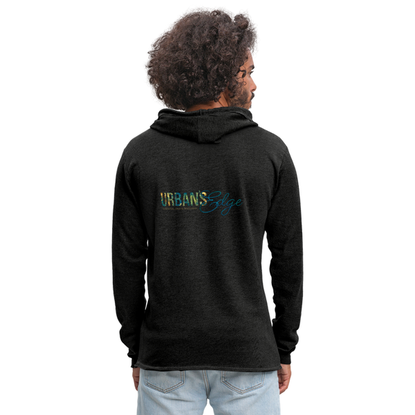 Urban's Edge Unisex Lightweight Terry Logo Hoodie - charcoal gray