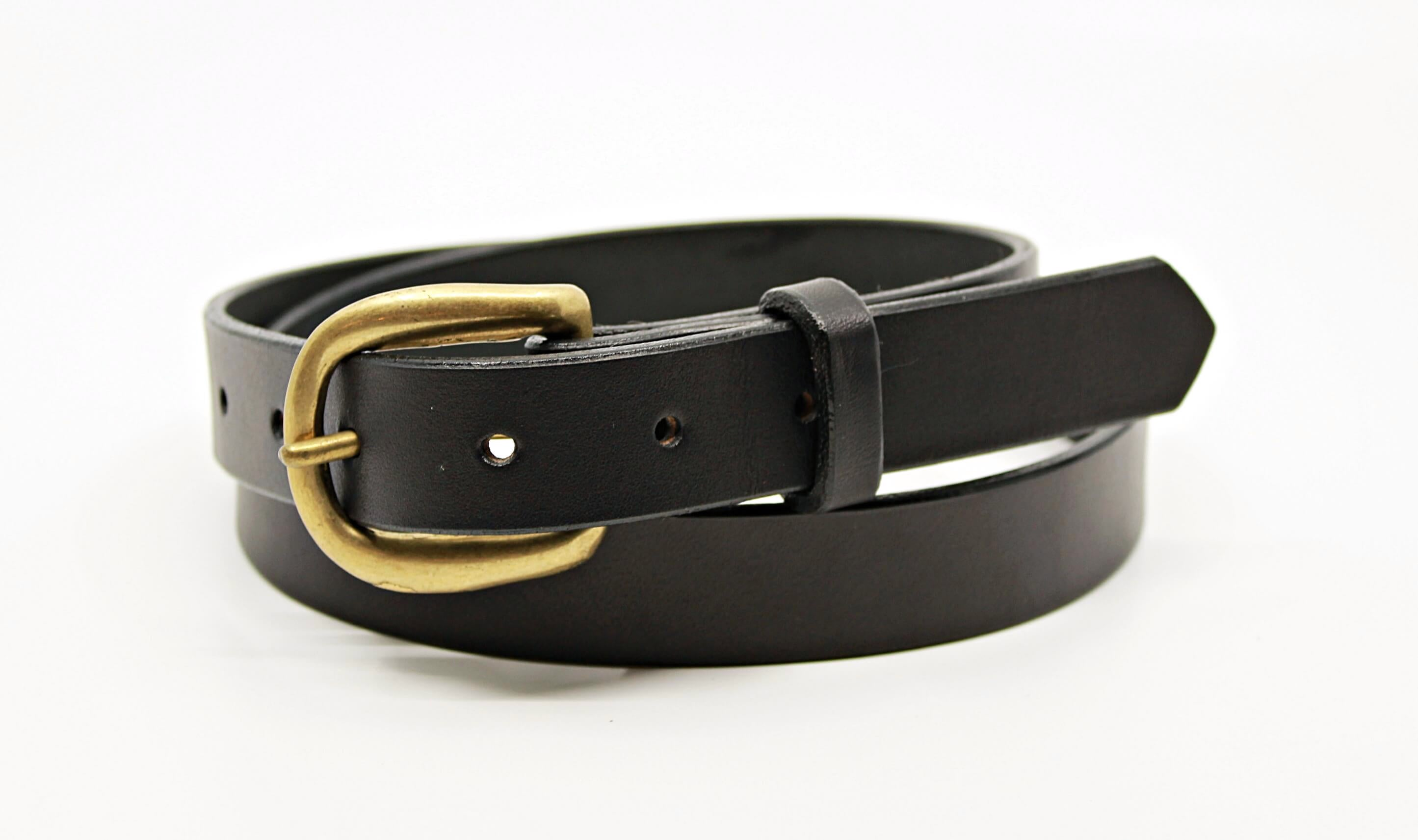 image of black premium genuine solid full grain leather belt with solid brass hardware made in our sustainable leather shop toronto