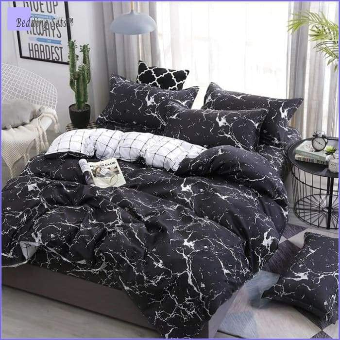 Black and White Marble Bed Set