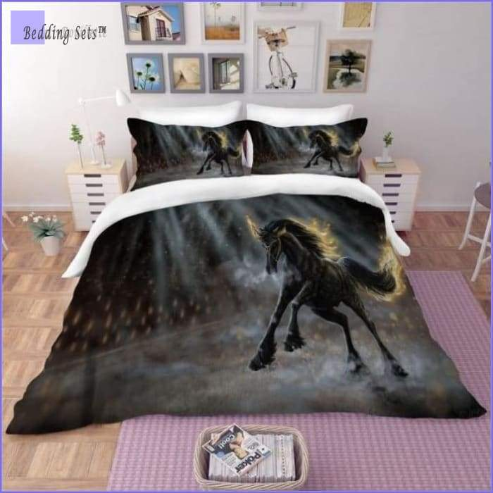 Black Horse Bedding Set - on Fire - Bedding-Sets™