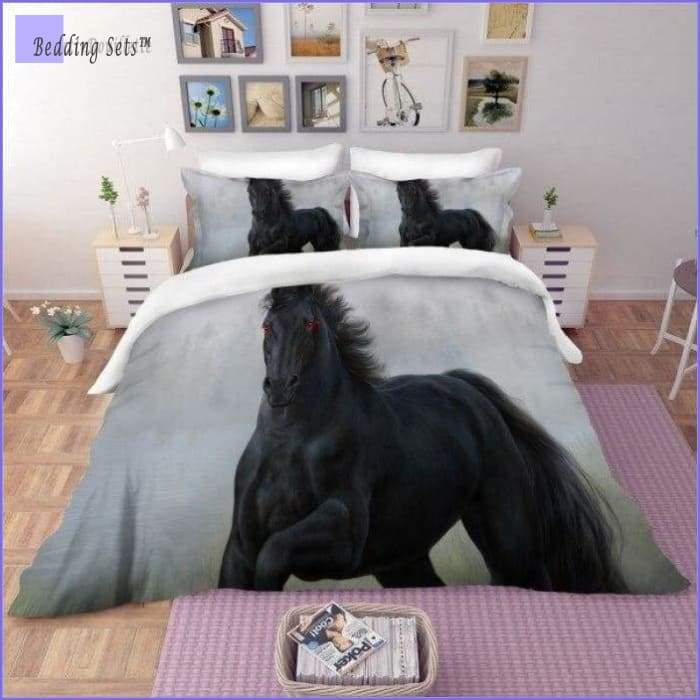 Black Race Horse Bedding Set - Bedding-Sets™