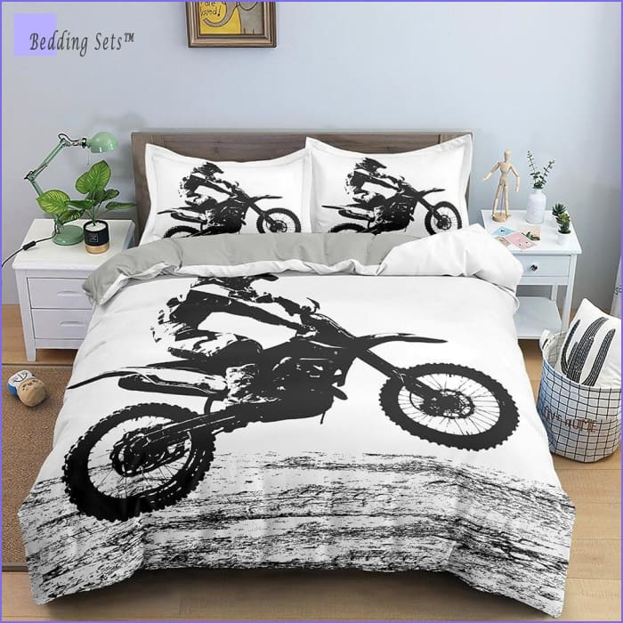 Black & White Dirt Bike Bedding - Wheelie