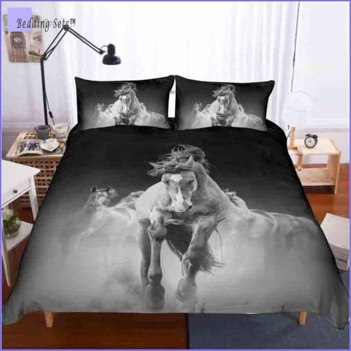 Black & White Horse Bedding Set - Galloping - Bedding-Sets™