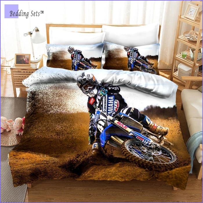 Blue Dirt Bike Bedding Set