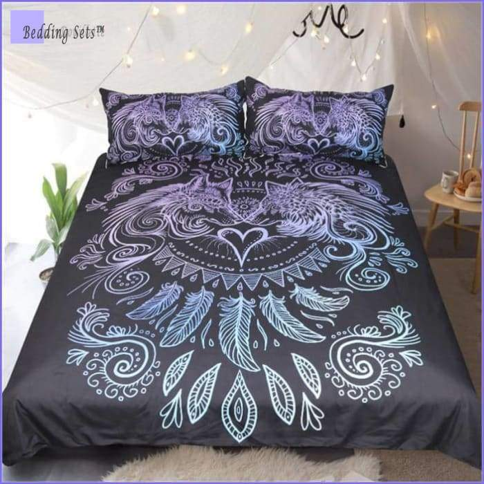 Boho Bedding Set - Tantric  Wolf