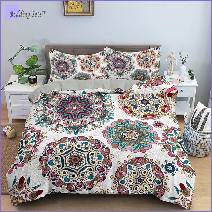 Boho Bedding Set - White Mandala