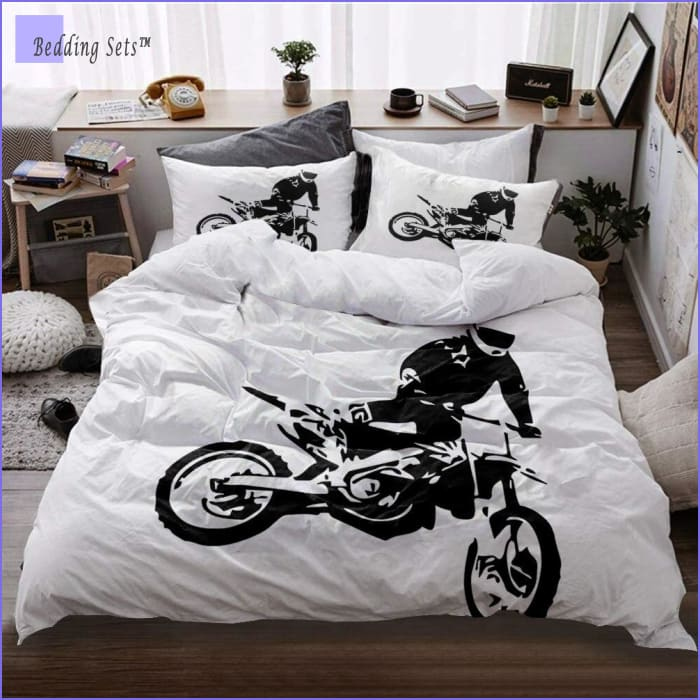 Dirt Bike Bedding - Black & White