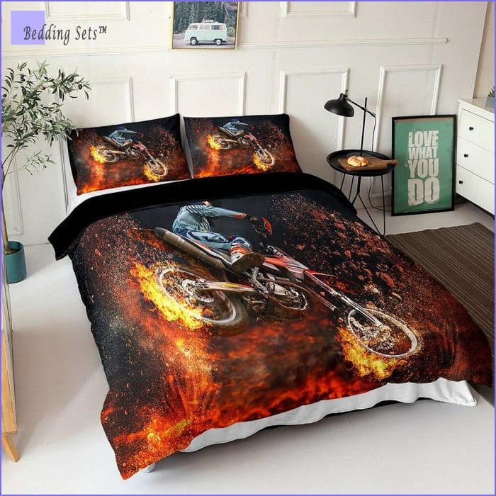 Dirt Bike Bedding - On Fire