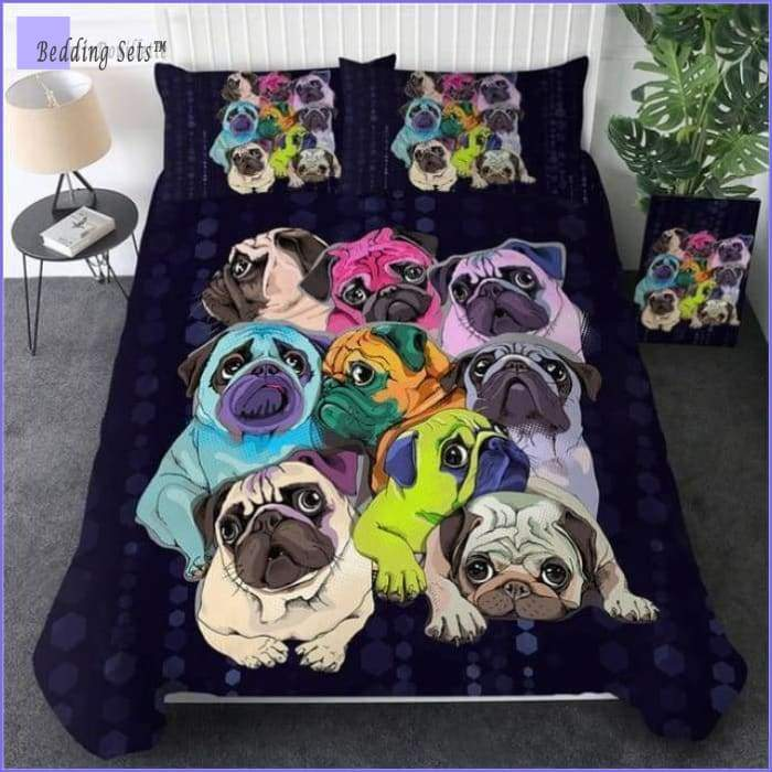Dog Bedding Set - Multicolored Pugs