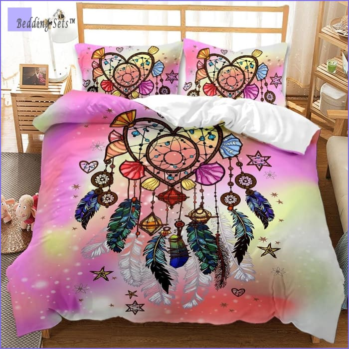White Cover Dreamcatcher Bedding Sets Boho 3D Printed Pink Duvet Cover Set 3 Piece Lightweight Romantic Personality Feathers Quilt Cover Set