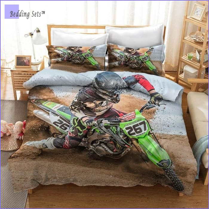 Green Dirt Bike Bedding set