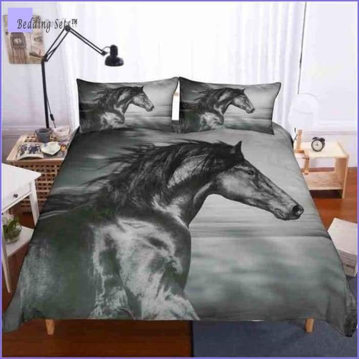 Horse Bedding Set - Grey