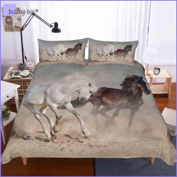 Horses Bedding Set - White & brown