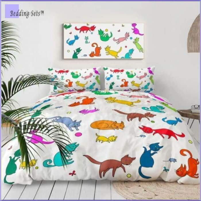 Kid Bedding - Colored Cats