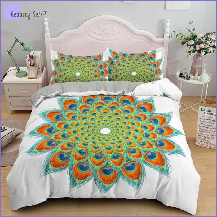 Mandala Bedding - Green  Peacock Feathers