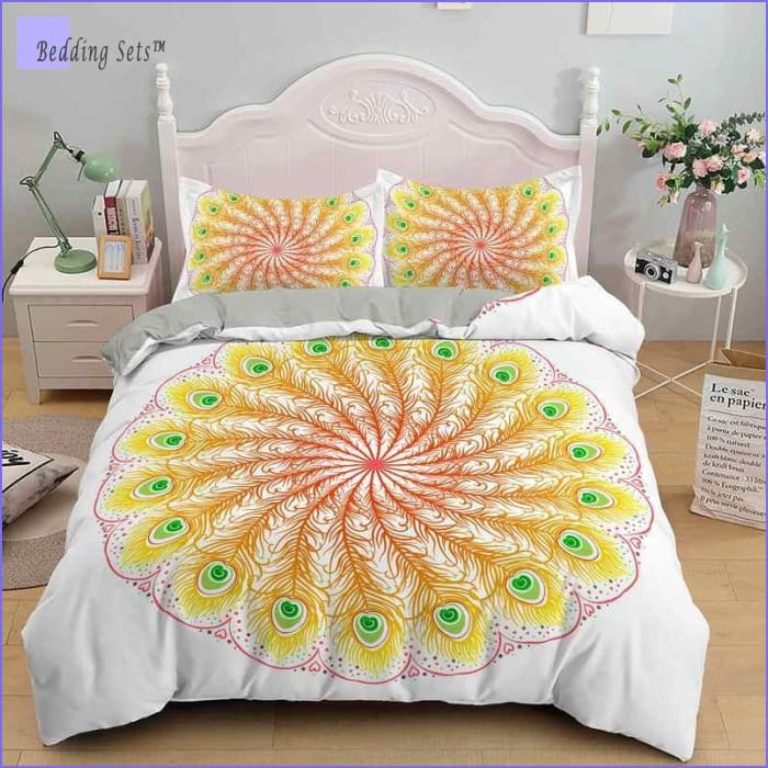Mandala Bedding - Yellow  Peacock Feathers