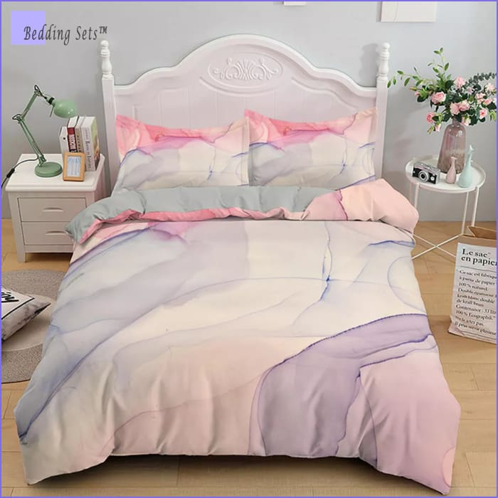 Marble Bed Set - Delicate Pink