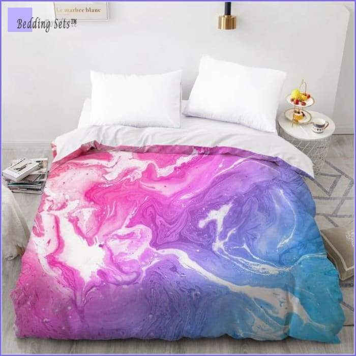 Marble Print Bedding Set  - Pink & Blue