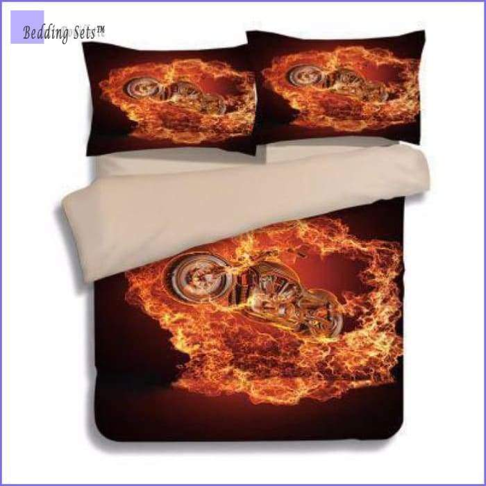 Motorcycle Bedding Set - Chopper on Fire - Bedding-Sets™