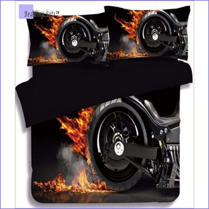 Motorcycle Bedding Set  - on Fire
