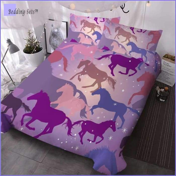 Pink Horses Bedding Set