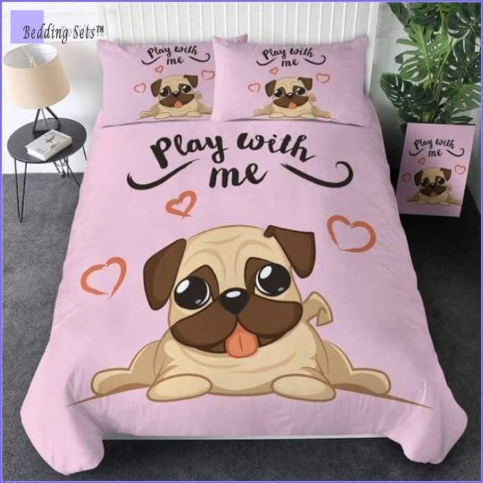 Pug Bedding Set - Pink Heart