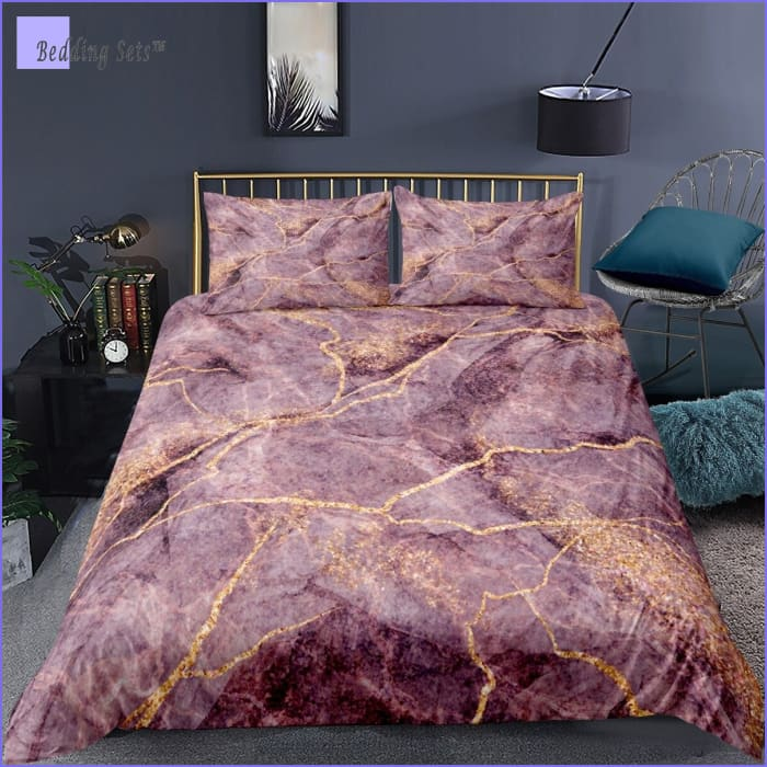 Rose Gold Marble Comforter Set
