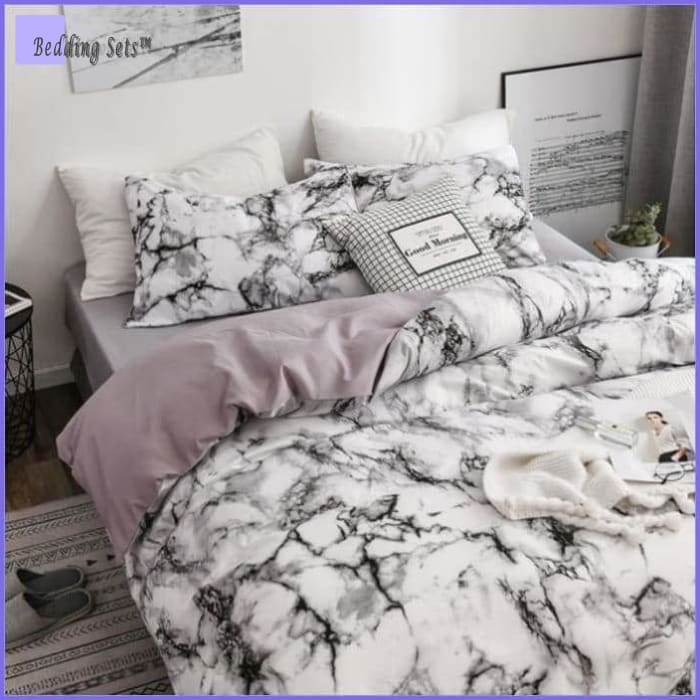 White Marble Bed Set