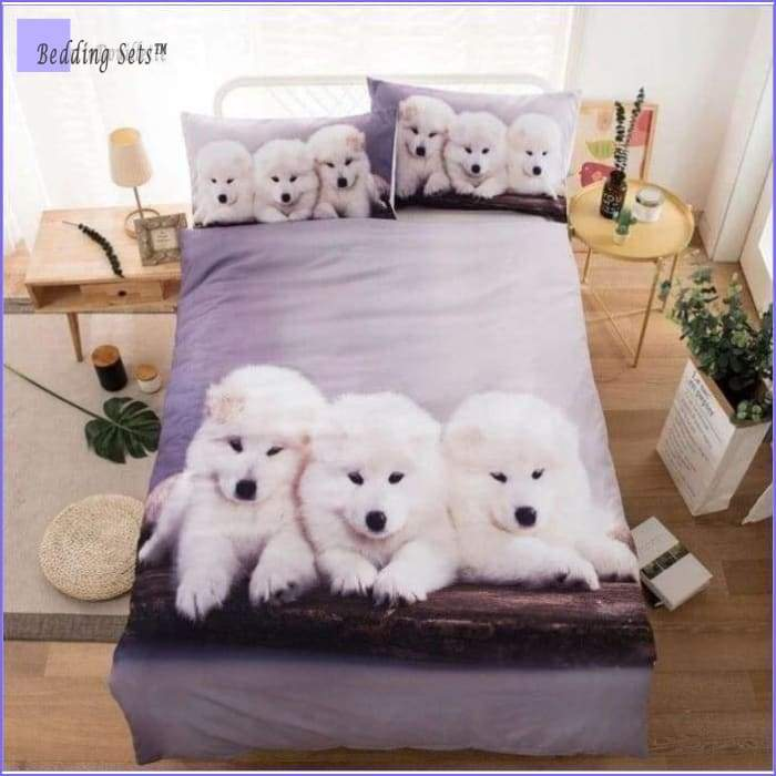 White Puppies Bedding Set