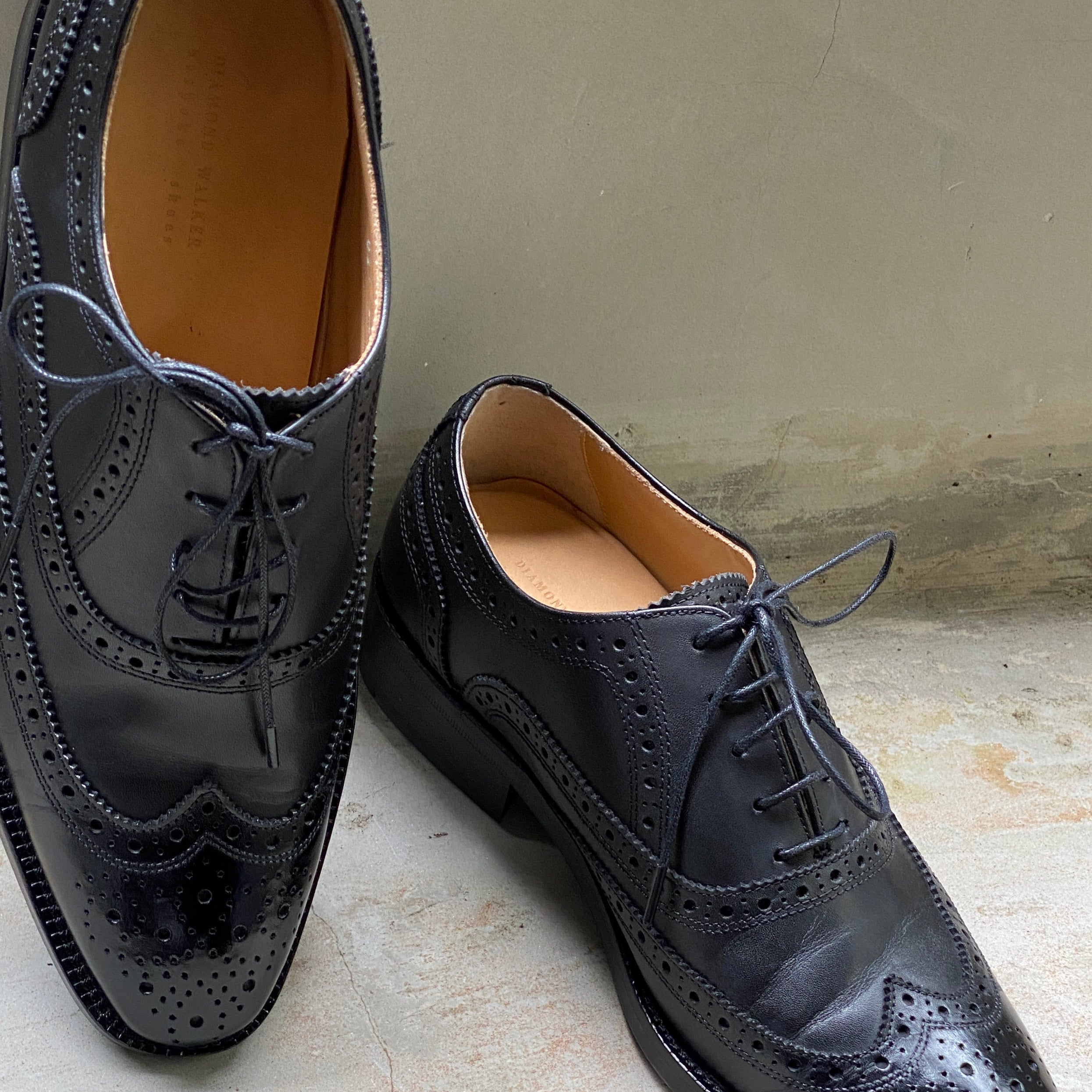 Diamond Walker Black Leather Dress Shoes