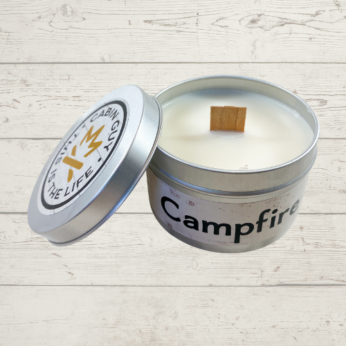 Campfire Hand Poured 8oz Candle in Silver Tin
