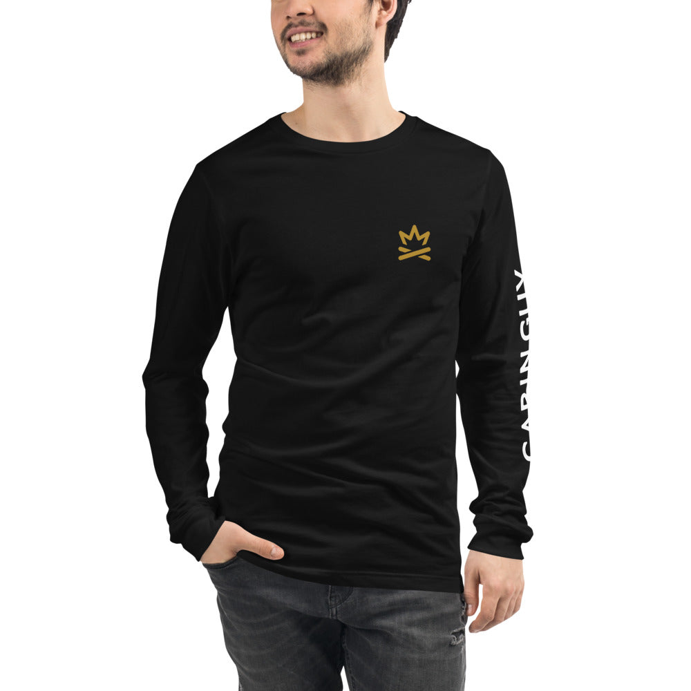 Axe Handle Fire Unisex Long Sleeve Tee with Cabin Guy on Left Sleeve