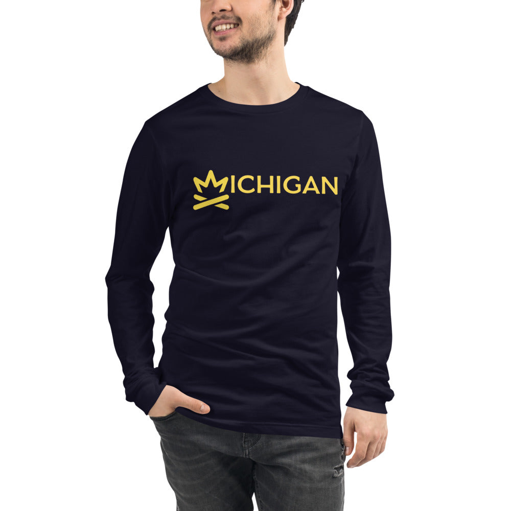 MICHIGAN Fire Crown Unisex Long Sleeve Tee