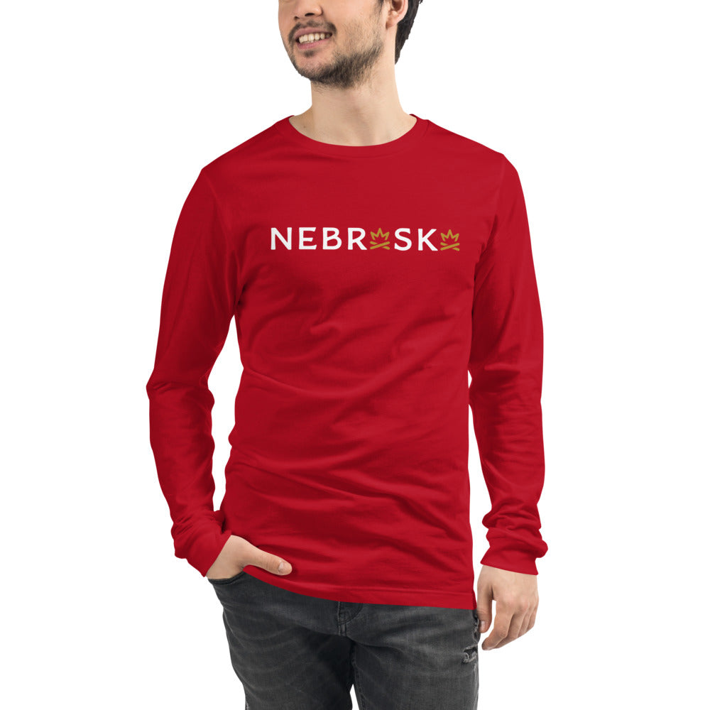 NEBRASKA Fire Crown Unisex Long Sleeve Tee