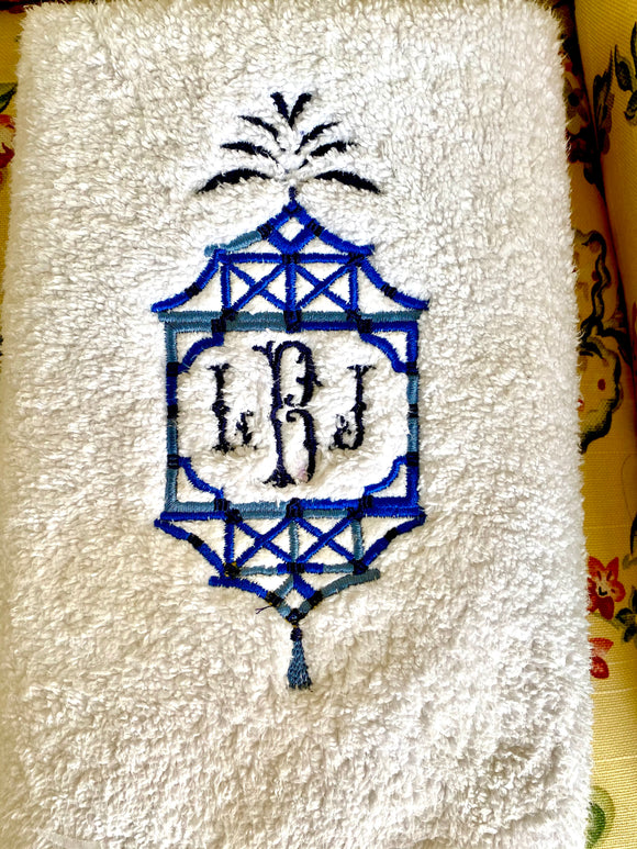 Embroidered Pagoda Towel
