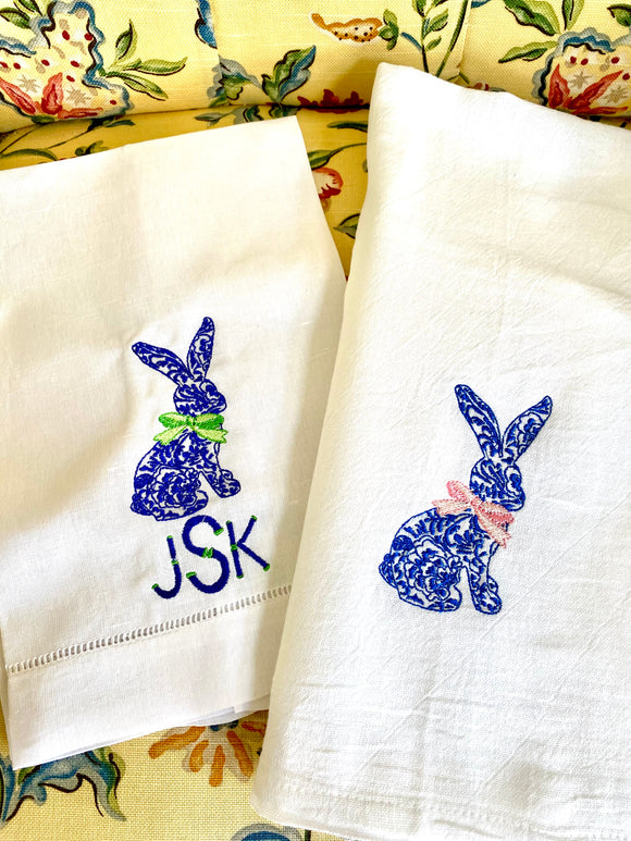 Embroidered Chinoiserie Bunny Towel