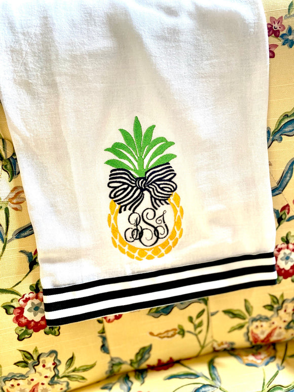 Embroidered Pineapple Ribbon Flour Sack Towel