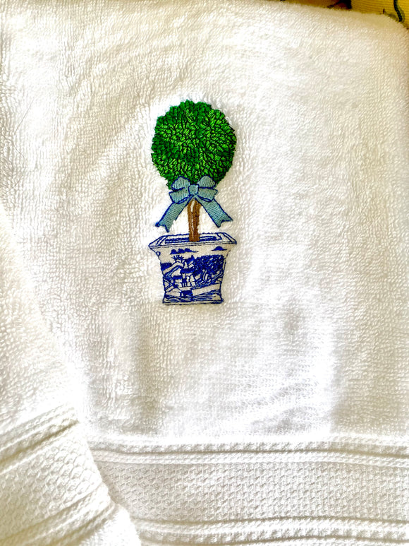 Embroidered Topiary Towel