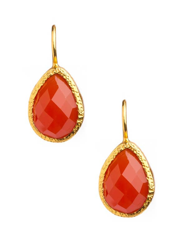 Carnelian Drop Earrings set in 24kt Gold Vermeil E009-Ca