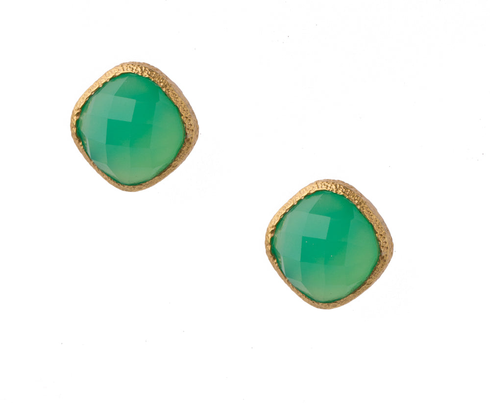 Green Onyx Post Earrings in 24kt Gold Vermeil E021-GO