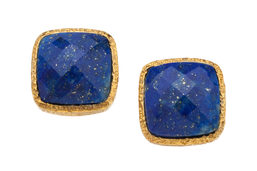 Lapis Lazuli Post Earrings in 24kt gold vermeil