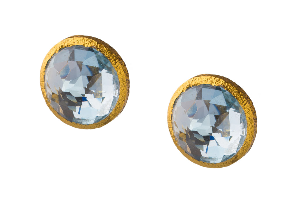 Blue Topaz Post Earrings in 24kt Gold Vermeil E023-B