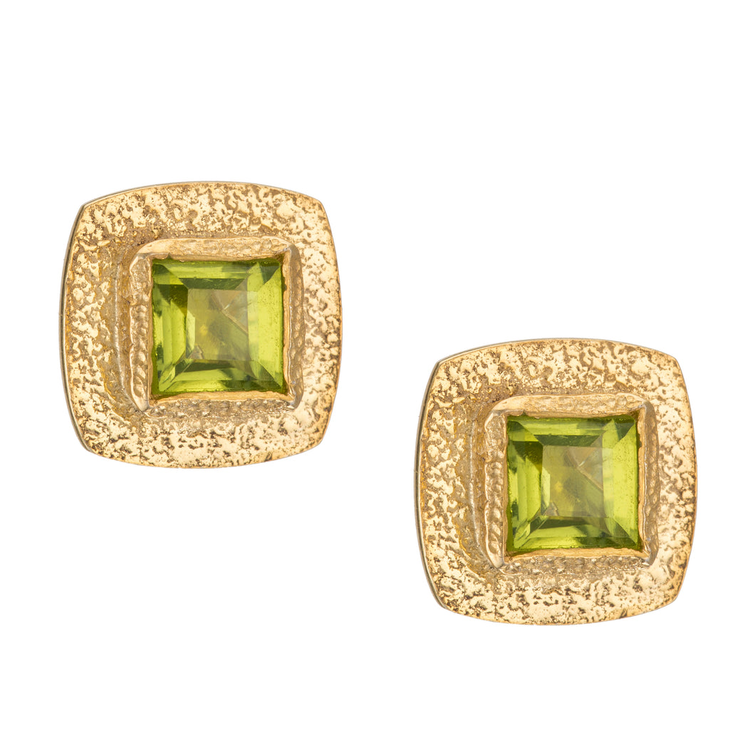 Light Green Peridot Post Earrings in 24kt Gold Vermeil