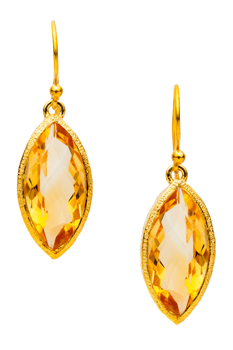 Golden Yellow Citrine Drop Earrings in 24kt Gold Vermeil E034-Cit
