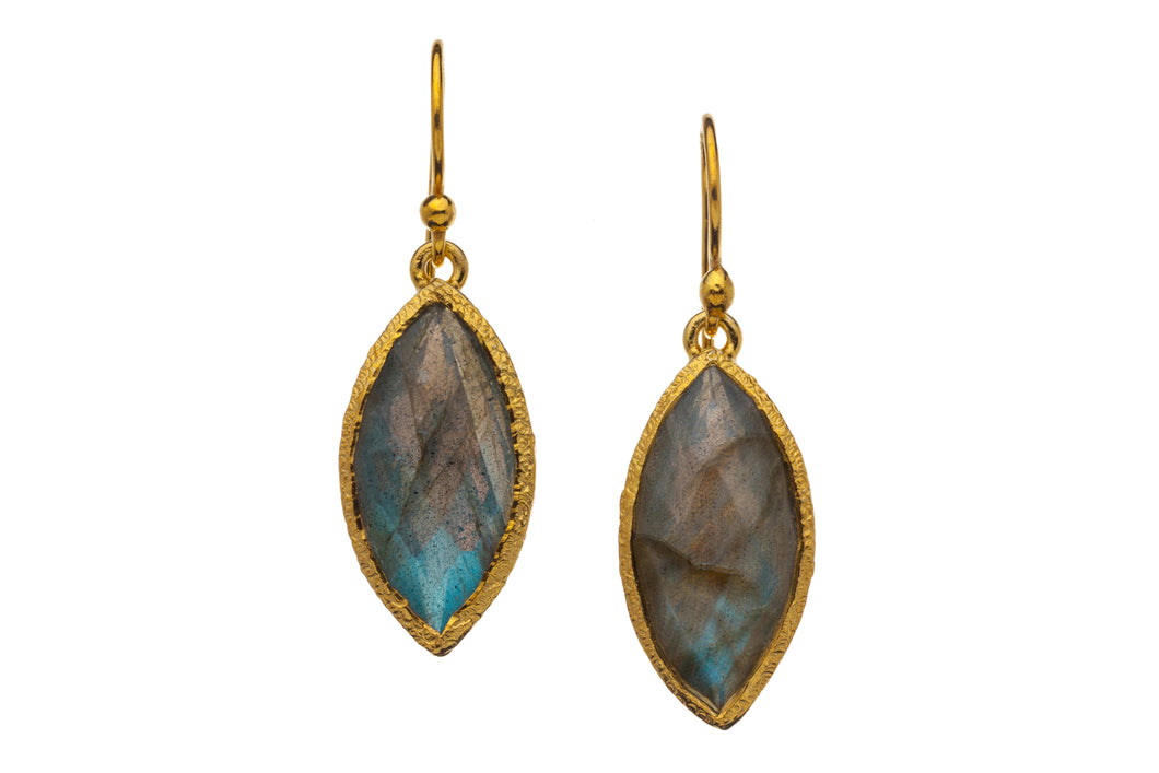 Labrodorite Marquise Drop Earrings in 24kt gold vermeil E034-L